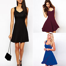 Womens Sleeveless Strappy Mini Swing Dress Casual Party Cocktail Summer Sundress