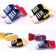 Superman Baby Boy Trainers Shoe Soft Sole Newborn Infant Toddler Pram Crib Shoes