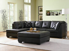 Black Sectional Darie Leather Sectional Sofa Couch 3Pc Sectional Set w/ Ottoman