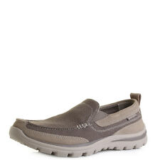 Mens Skechers Superior Milford Light Brown Suede Slip On Trainers Shoes Shu Size