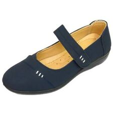 LADIES NAVY SLIP-ON PUMPS COMFY WORK SMART CASUAL COMFORT WEDGE SHOES SIZES 3-8