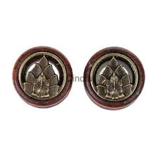 1 Pair Vintage Wood Hollow Solid Double Flared Ear Plugs Tunnels Gauges Piercing