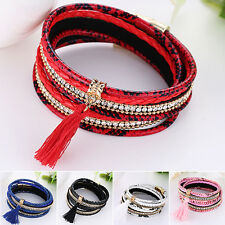 Women's Multilayer Faux Leather Knitted Tassels Decor Bracelet Bangle Showy Gift