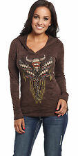 Cowgirl Up Womens Brown Cotton Hoodie Longhorn Skull Burnout