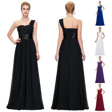 One Shoulder Bridesmaid Dress Long Prom Wedding Gowns Party Evening Formal 2-16