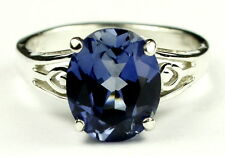 Created Blue Sapphire, 925 Sterling Silver Ring, SR139-Handmade