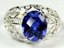 SR154, 6ct Created Blue Sapphire, 925 Sterling Silver Angel Ring-Handmade