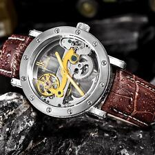 IK COLOURING Self-Wind Automatic Mechanical Genuine Leather Skeleton Watch K8F8