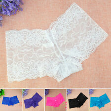 Womens Ladies Sexy Sheer Lace Panties Embroidery  Boyshorts Briefs Plus Size