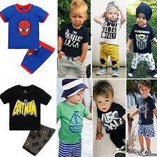 Newborn Toddler Infant Baby Kids Boys Casual T-shirt Top +Pants 2pcs Outfits Set