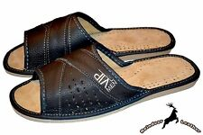Mens Real Natural Leather Open Toe Gray House Slippers Handmade Slide Flip Flop