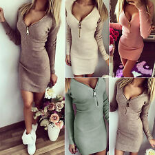 Women Bodycon V Neck Long Sleeve Party Casual Cocktail Sweater Jumper Mini Dress