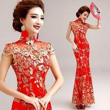 Embroidery Mermaid Cheongsam Prom Party Chinese Red Lace Wedding Ball Gown Dress