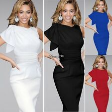 Fashion Women Sleeveless Pencil Package Hip Ruffles Decor Knee Length Dress  BF9