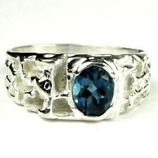London Blue Topaz, 925 Sterling Silver Men's Ring, SR197-Handmade