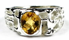 Citrine, 925 Sterling Silver Men's Ring, SR197-Handmade