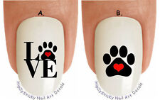 """WaterSlide Decal Set#1356 LOVE Dogs Paw Red Heart Dog Breed"""" Nail Art Transfers"""