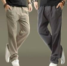 New Mens Summer breathable loose Linen Cotton Straight leg Trousers comfy Pants