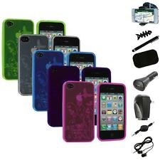TPU Flower Butterfly Color Jelly Skin Case Cover+8X Accessory for iPhone 4S 4G
