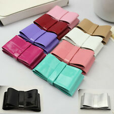 A Pair of Color Bow Plastic PU Faux Leather Fashion Ladies Shoe Clips