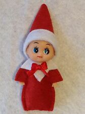 BABY ELF, FOR ON THE SHELF, IDEA DRESSED IN RED & WHITE, BEAUTIFULLY HANDMADE