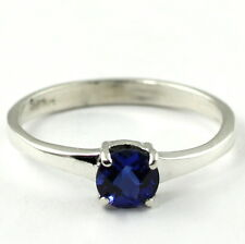 Created Blue Sapphire, 925 Sterling Silver Ring, SR301-Handmade