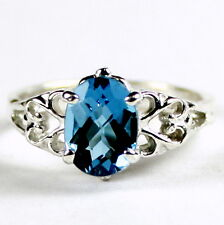 London Blue Topaz, 925 Sterling Silver Ring, SR302-Handmade