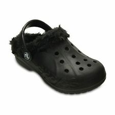 NWT Crocs Boy's Baya Kids' Plush Lined Clogs Size 1, Black/Black