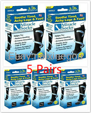 New Box Miracle Sock Casual Anti Fatigue Compression Socks As Seen TV 5 Pairs