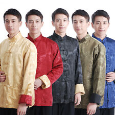 Hot Chinese Men's Double-side Dragon Kung Fu Party Embroidery Dragon Jacket/Coat