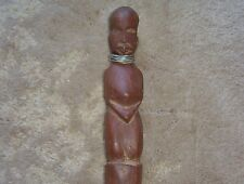 Vintage African Hand Carved 1 Piece All Wood Walking Stick Cane Head