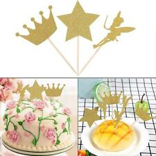 24PCS Romantic Gold Glitter Crown Cupcake Toppers Wedding Picks Birthday Party
