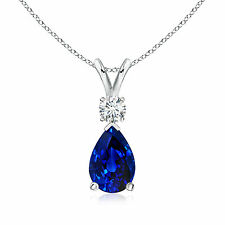 "Pear Blue Sapphire Teardrop Pendant Necklace with Diamond in 14k Gold 18"" Chain"