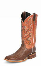 Justin Mens Brown Full Quill Ostrich Western Boots AQHA Remuda