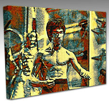 BRUCE LEE STYLE POP ART CANVAS WALL ART PICTURE PRINT KARATE KUNG FU FILM STAR