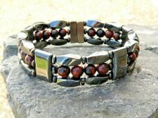 Men's Women's Red Tiger Eye Magnetic Bracelet Anklet Necklace STRONG Clasp 3 row