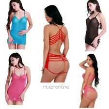 Sexy Women Lingerie Mesh Sheer Babydoll Dress Sleepwear Nightwear G-string Set