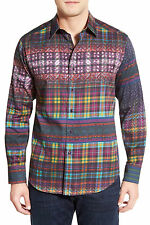 Robert Graham Kilt Tartan Print Sport Shirt Purple Sizes S, M, L, XL NWT $298