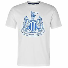 Newcastle United FC Large Crest T-Shirt Juniors White/Royal EPL Football Soccer