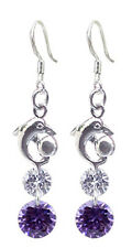 Lovely Fashion Silver Dangle Earrings with Mix CZ Crystal - FREE Velvet Bag
