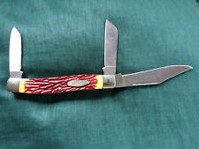 CAMILLUS TRIPLE BLADED RED STAG HANDLE POCKETKNIFE- MADE IN THE U.S.A. LOOKS NEW