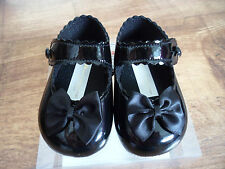 Baby Girls Baypods Special Occasion Black Patent Button Bar Soft Pram Shoes