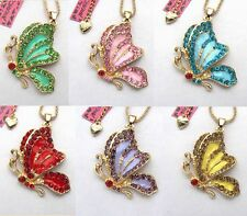 Betsey Johnson colour crystal/enamel Beautiful butterfly Pendant necklace#266L