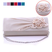Ladies Rosette Wedding Bridal Clutch Handbag Shoulder Evening Dress Bag Purse