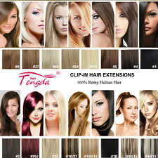 "18"" CLIP IN REMY REAL HUMAN HAIR EXTENSIONS 7PCS FULL HEAD 15COLORS ANY LENGTH"