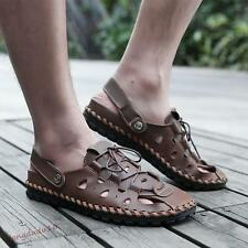 Mens Summer Faux leather Close Toe Breathable Lace-up Sand Beach Sandals New #