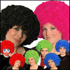 Mens Womens Ladies Afro Many Colours Wig Funky Unisex Curly Dance Fancy Dress •