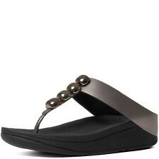 Brand New FitFlop B87-054 Women's Pewter Rola Thong Sandals