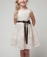 Flower Girl Princess Vintage Lace Dress Baby Wedding Party Pageant Easter Dress