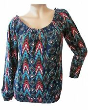 New LUCKY BRAND Women's Blue Causal Printed Mena L/S Scoop Knit Top Blouse $59